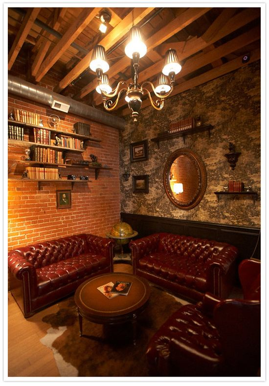 Private Masculine Room - Carondelet House / that furniture is bad and too big, but like the feeling of intimacy and the light quality. it looks like a fun room to play poker or some such
