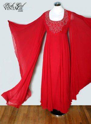 1960's Red Angel Wings Long Chiffon Party Dress - M