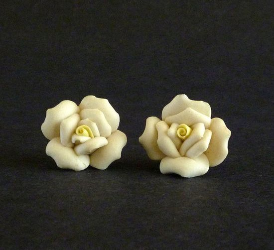 Vintage Carved Rose Porcelain Earrings by MaisonChantalMichael