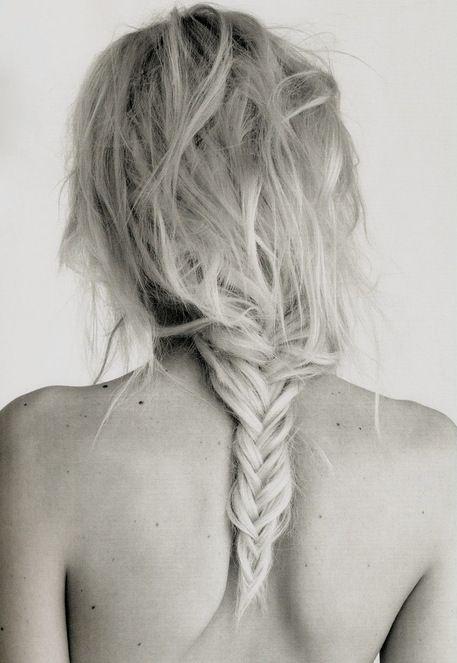 messy fishtail braid.