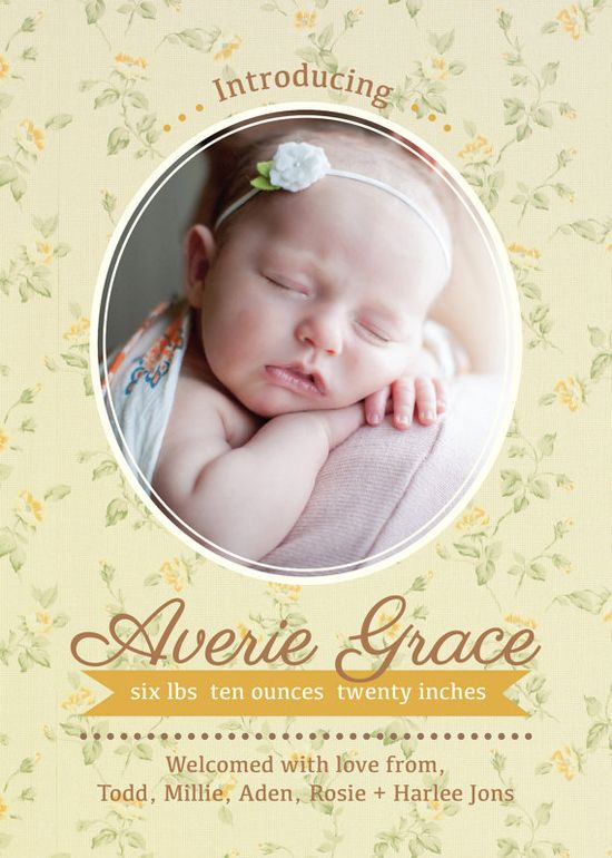 Floral baby girl birth announcement pdf printable