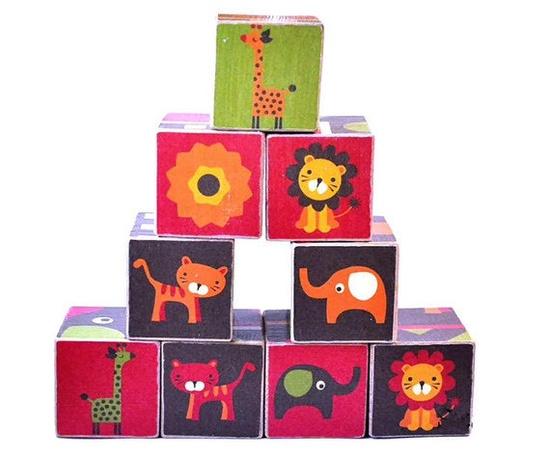 Retro Safari Wooden Blocks @stackblocks $38.25 #illustration #child #baby #toy #rerto #giraffe #lion #flower #car #elephant #animal #blocks #wood
