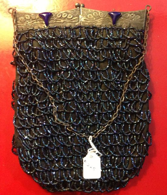 Vintage Blue Beaded Bag with Silver Art Nouveau Handle, $225.