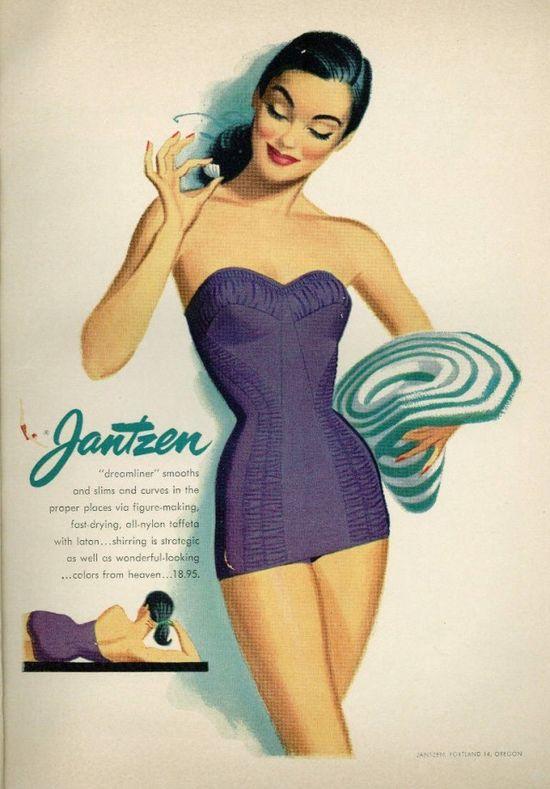 1950s advert for Jantzen 'Dreamliner' swimear - 'all nylon'