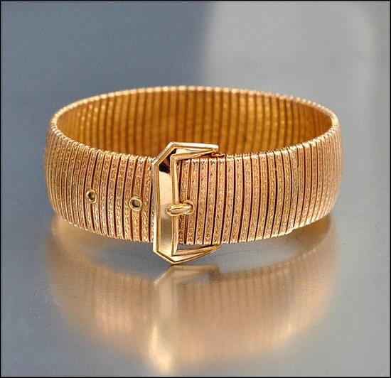 Art Deco Bracelet Bangle Buckle Rose Gold Wide BB, 1920s