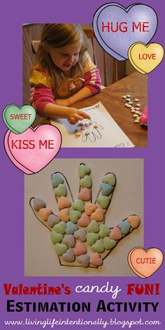 Valentine's Candy Fun! Simple to do, fun and educational estimation activity. Great for kids 4-7.
