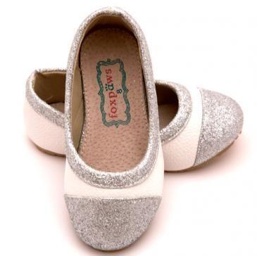 White Glitter Peekaboos Fox Paws $38 Girls Shoes