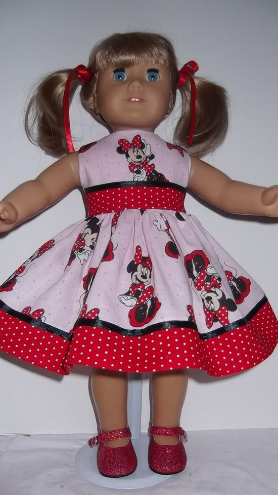 American Girl Doll Clothes  Minnie Mouse Dress & by susiestitchit, $18.50