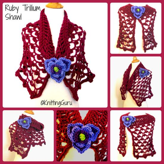 Ruby Crochet Shawl Cape - Burgundy Wine Alpaca Lace by KnittingGuru.   It's always important to me to make things that can be worn in many ways for variety!