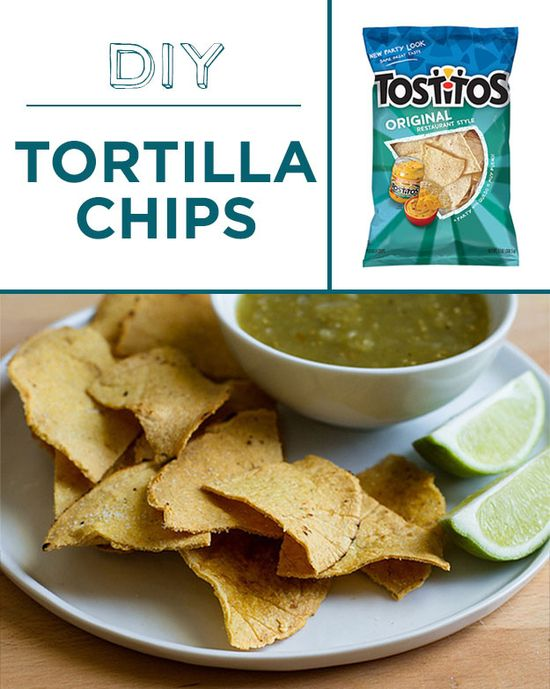 Bake low-fat tortilla chips in the oven.