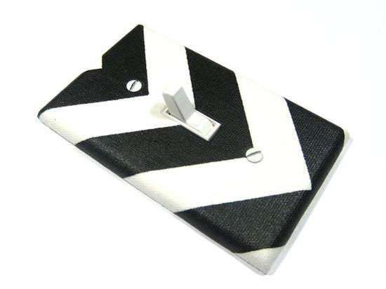 PP Chevron Black and White Light Switch Cover by ModernSwitch, $6.00