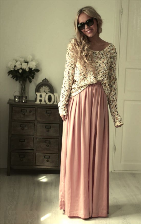 sweater and maxi skirt. so cute