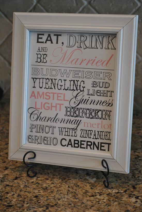 Wedding Sign Drink/Bar Menu Customized by cupcakesnjellybeans