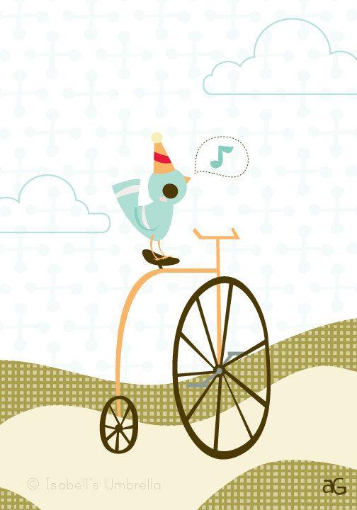 Bird on Bicycle 85x11 Giclee print by isabellsumbrella on Etsy