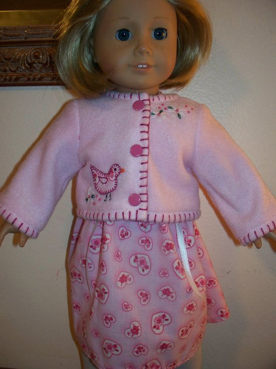 American Girl Doll Clothes  PINK Dress and by KingsLittleBlessings, $18.00...stitching around edge