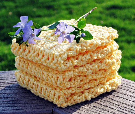Cotton Washcloths Bright Yellow  Set of 3 by HandmadeByAnnabelle, $9.00