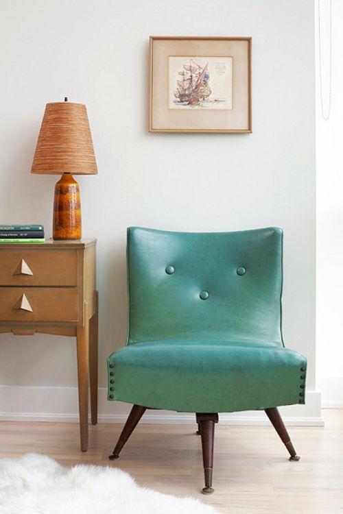 Turquoise naugahyde chair