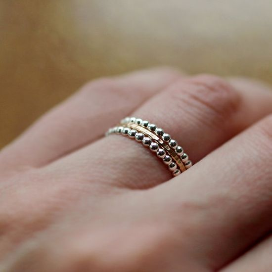 sterling and 14k band set by darling @Clementine Cassie