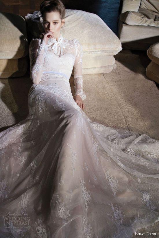 inbal dror 2013 wedding dress long sleeve high neck