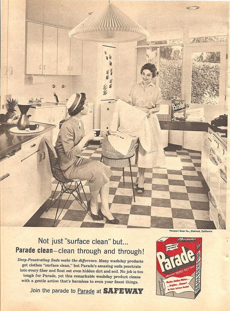 The laundry basket stand is just too marvelous for words! I wonder if it was a planter stand that they repurposed for this ad or if one could buy such a thing back when this scene was created during the 1950s. #vintage #laundry #soap #ad #1950s #women #homemaker #housewife