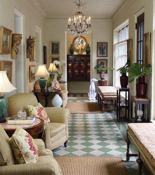 Walter Studio Interior Design, Atlanta.....great way to make comfortable a long narrow space