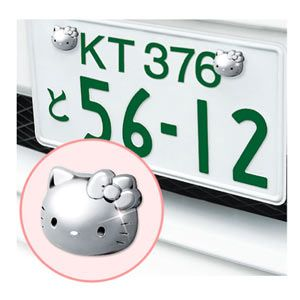 Hello Kitty License Plate Accessory -   About this product: Simply remove the tape on the back, and apply the adhesive bond to your car's license plate. While originally designed for cars, these shinny silver accessories can be used for accessorizing you laptop, desk or anything you want to have a cute kitty face. (instock)