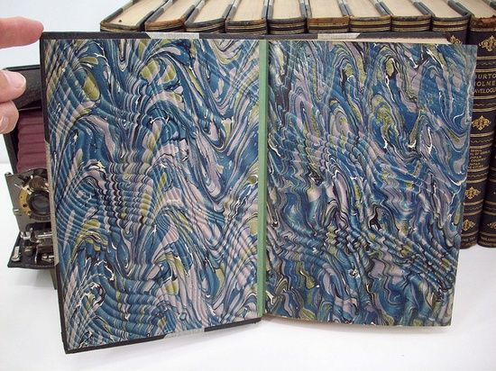 Beautiful handmade marbled end pages from antique