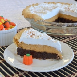 Pumpkin Cheesecake Brownie Pie by BruCrewLife