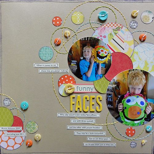 #papercraft #scrapbook #layout #studiocalico #circlepunch #handstitching