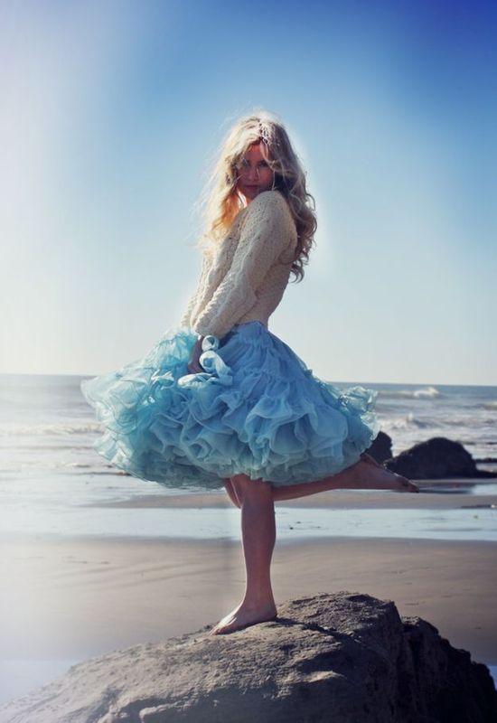 Tulle on the beach