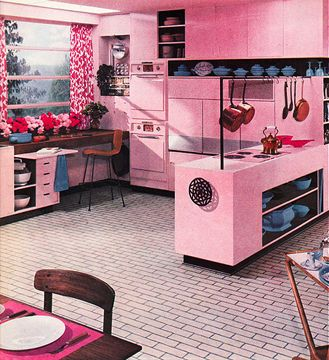 It's like Barbie's dream house and a snazzy mid-century kitchen had a love child #vintage #1950s #home #decor #pink #kitchen #kitsch #retro
