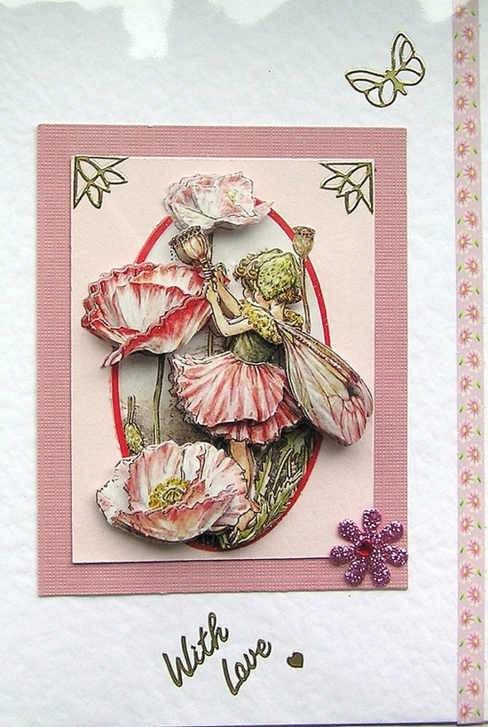 Shirley Poppy Fairy HandCrafted 3D Decoupage Card by SunnyCrystals, £1.85