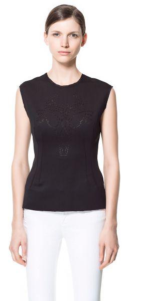 Zara Black Tshirt with A Cut Work Design