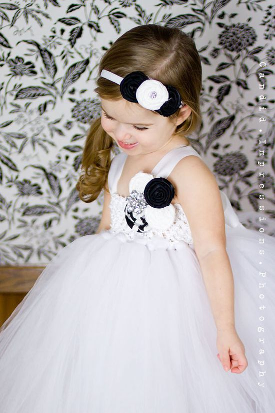Flower Girl Tutu Dress in Black and White by TheLittlePeaBoutique
