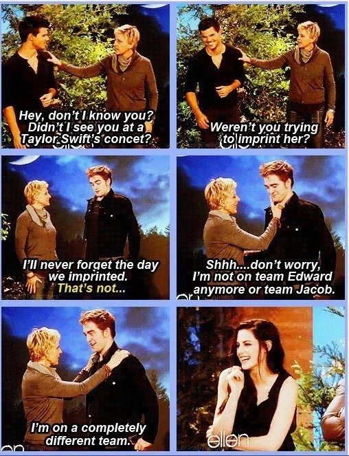 "When she defied Team Edward and Team Jacob ~ The 35 Greatest Moments Ever On ""The Ellen Show"""