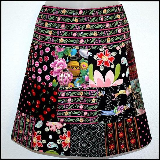 Skirt Tier Patchwork Aline Cotton Size 812   by janelizabeths, $14.99