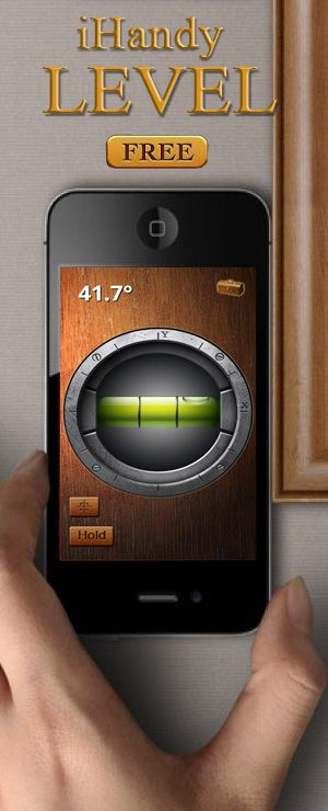 iHandy Level  for iPad or Iphone, transforming your phone into a portable tool - spirit level (bubble level). This is definitely the most beautiful and accurate level you can get in hand.  You can use iHandy level for hanging pictures, home decorating, angle measurement, measuring slopes...