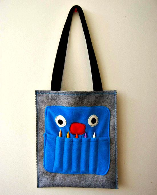Crayon monster tote for boy boxes.