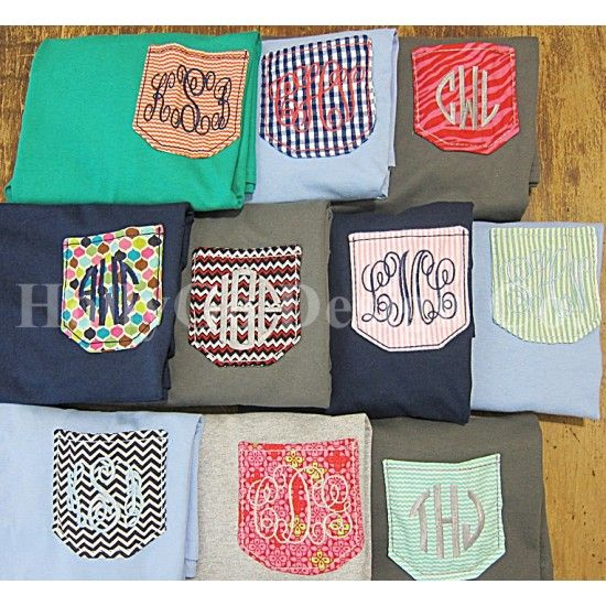 Monogrammed Pocket T Shirt, cute!