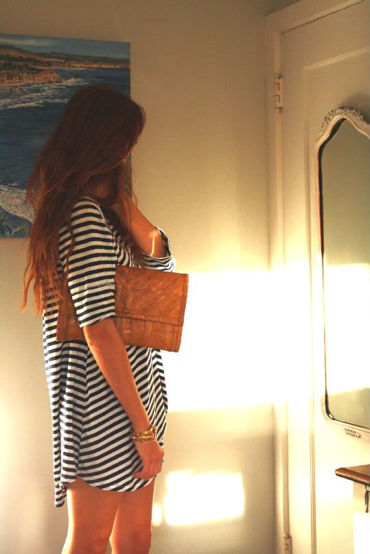 loose black + white striped dress.