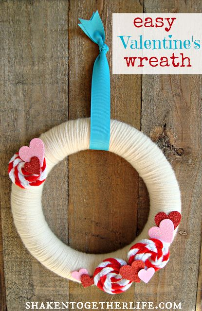 easy Valentine's wreath using pipe cleaners & sparkly hearts from the dollar store :: {create this} at shaken together