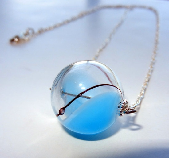 Blue Clear and Brown Round Hand Blown Glass Necklace, Sterling Silver $25.00