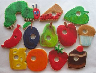 A set of The VeryHungry Caterpillar cookies
