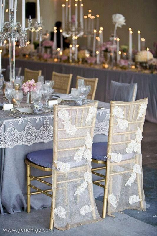 Romantic wedding reception......Love the lace over the table cloth