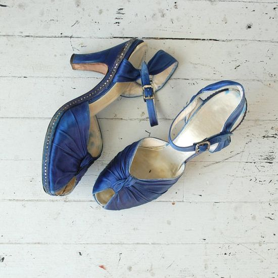 1930s shoes / platform 30s shoes / Sapphire Silk by DearGolden