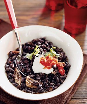 Slow-Cooker Beer-Braised Pork and Black Bean Soup Recipe from realsimple.com. #myplate #protein #veggies #vegetables