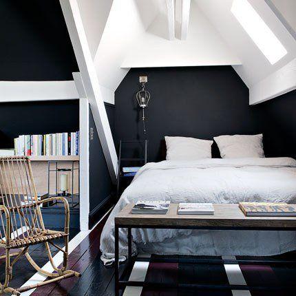 Une chambre design noire et blanche