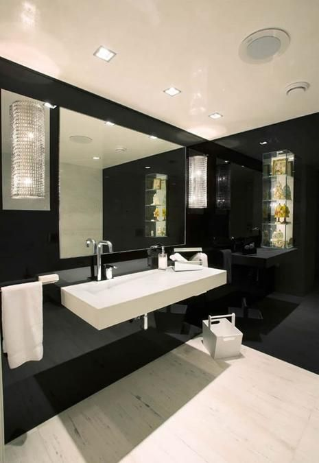Maybe we can do the double-sink in the master bath with one wide, slim sink like this.   Modern Bathroom Design Trends in Bathroom Cabinets and Vanities