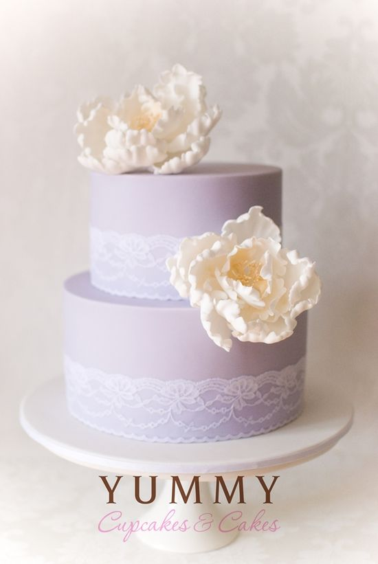 Beautiful lavender, lace and peony wedding cake by Yummy Cupcakes & Cakes