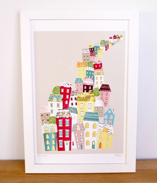 City Living  Retro city scape print by lauraamiss on Etsy, €10.50